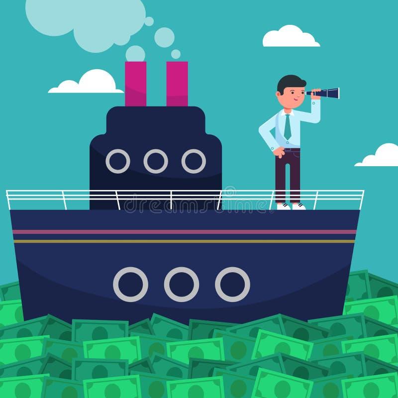 Szczęśliwy super bogaty pomyślny biznesmen żegluje na statku morzem od ogromnych zielonego pieniądze rachunków ilustracja wektor