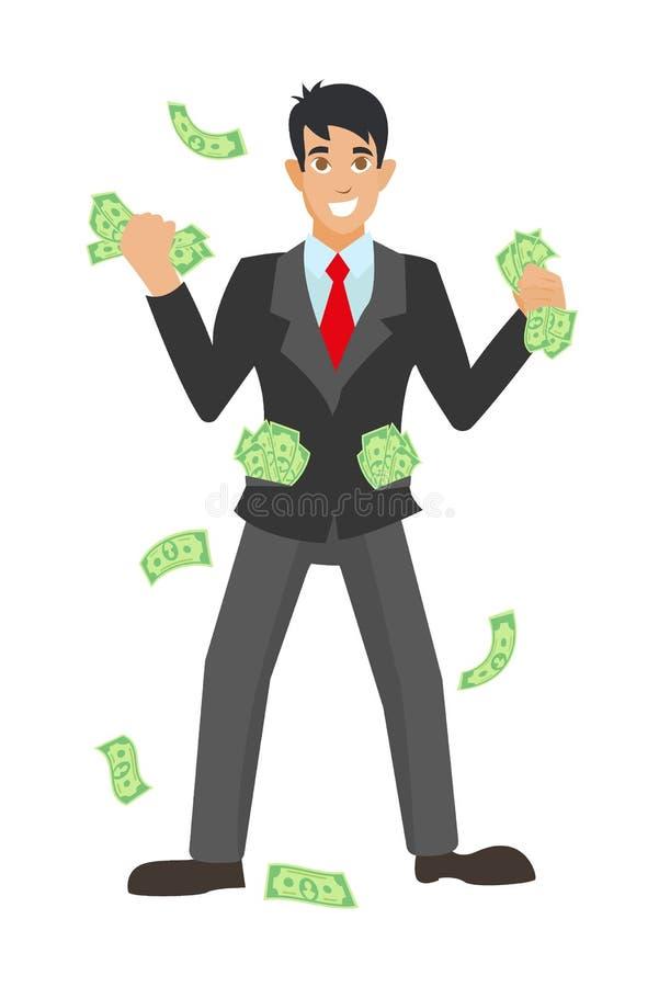 Szczęśliwy super bogaty pomyślny biznesmen podnosi jego ręki pod pieniądze deszczem ilustracja wektor