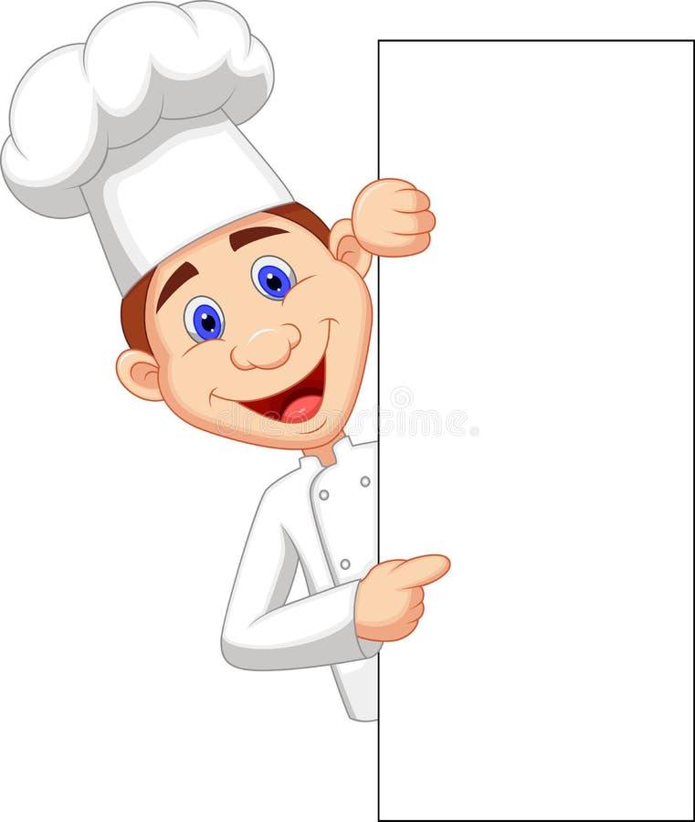 Szczęśliwy szef kuchni kreskówki mienia pustego miejsca znak royalty ilustracja