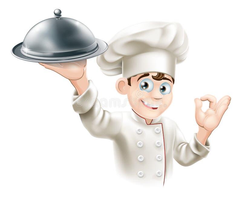 Szczęśliwy szef kuchni mienia półmisek ilustracji