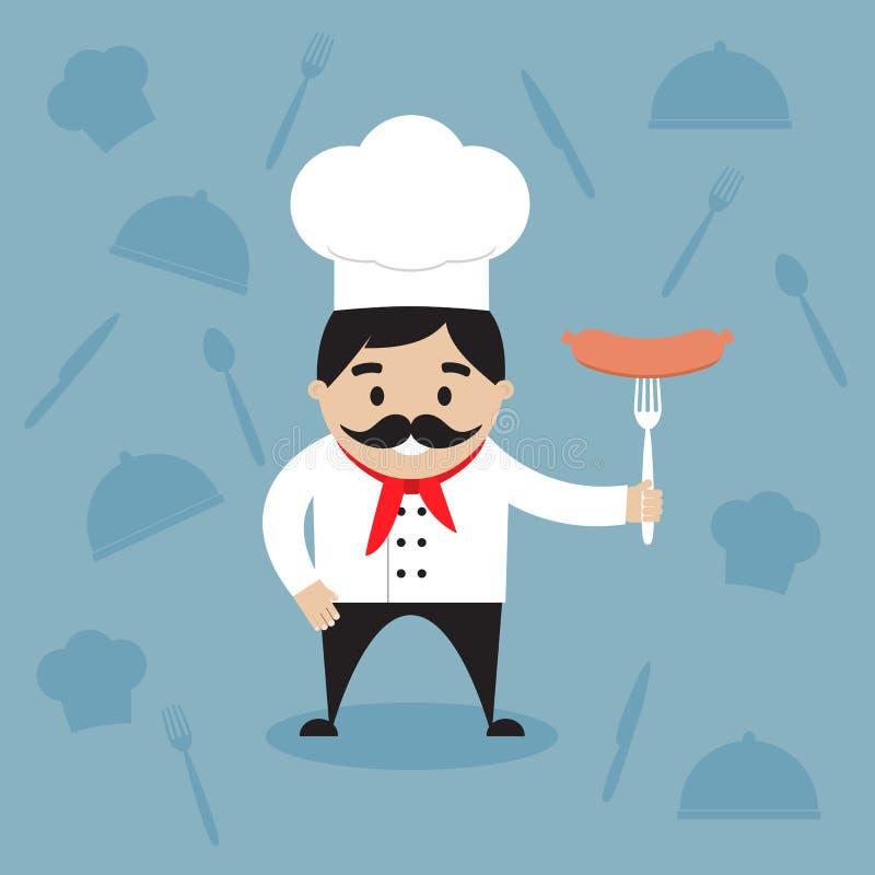 Szczęśliwy szef kuchni trzyma gorącą kiełbasę na rozwidleniu ilustracji