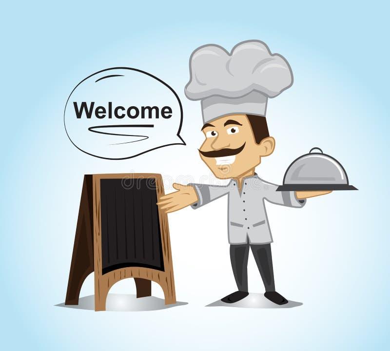 Szczęśliwy szefa kuchni charakter stoi naczynie pokrywę i trzyma ilustracja wektor