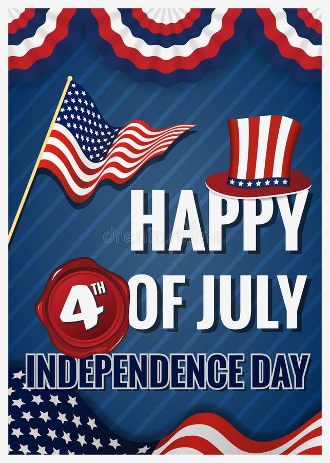 Szczęśliwy 4th LIPA dnia niepodległości kartka z pozdrowieniami ilustracja wektor