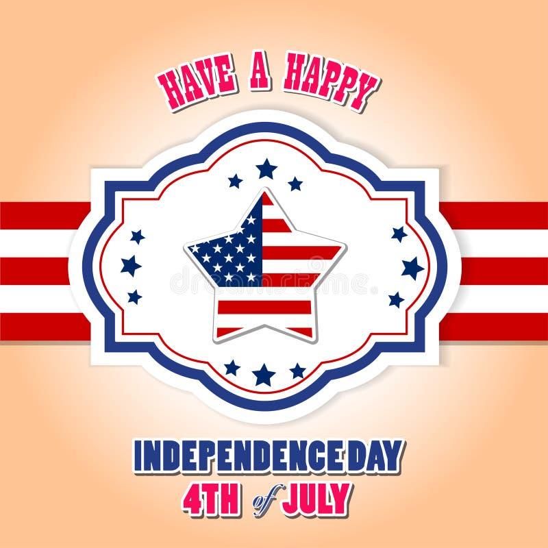 Szczęśliwy 4th Lipa dzień niepodległości z gwiazdą i usa zaznaczamy ilustracji