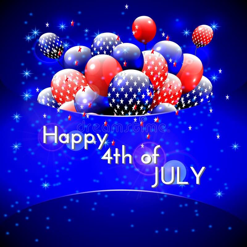 Szczęśliwy 4th Lipa projekt Błękitny tło, balony z gwiazdami ilustracja wektor