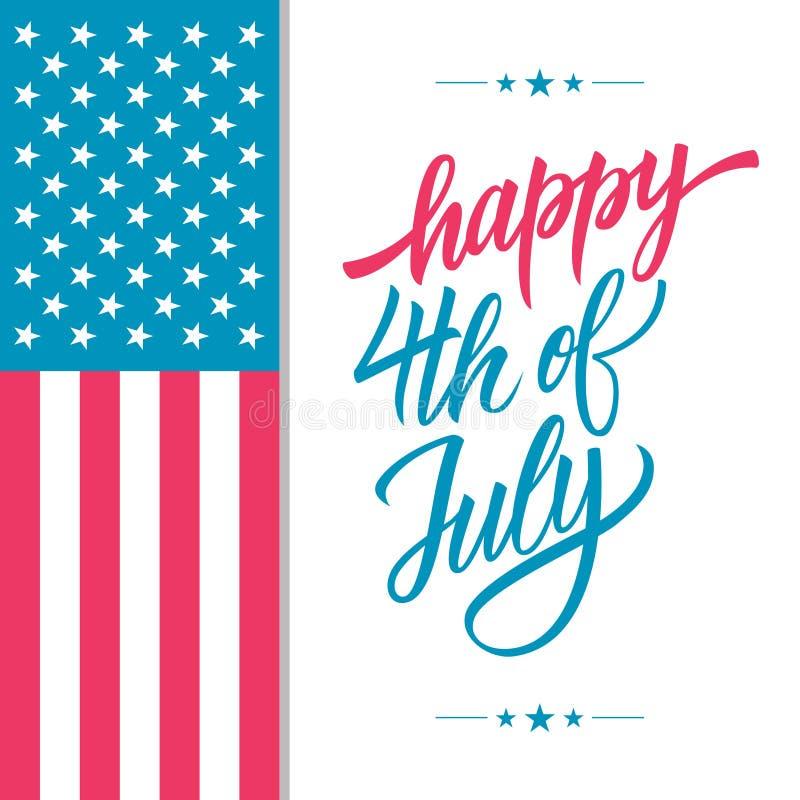 Szczęśliwy 4th Lipa usa dnia niepodległości kartka z pozdrowieniami z amerykańskim flaga państowowa i ręki literowania teksta pro royalty ilustracja
