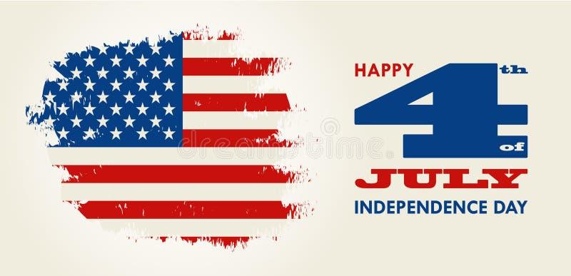 Szczęśliwy 4th Lipiec - dzień niepodległości Stany Zjednoczone Ameryka ilustracja wektor