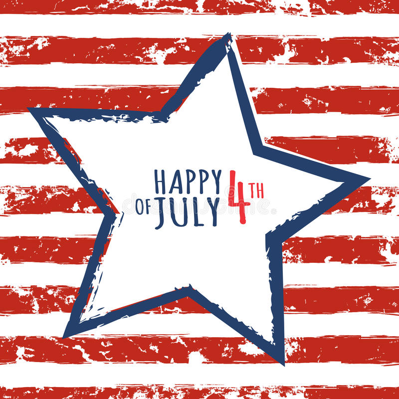 Szczęśliwy 4th Lipiec, usa dzień niepodległości Akwareli błękitna gwiazda dalej ilustracja wektor