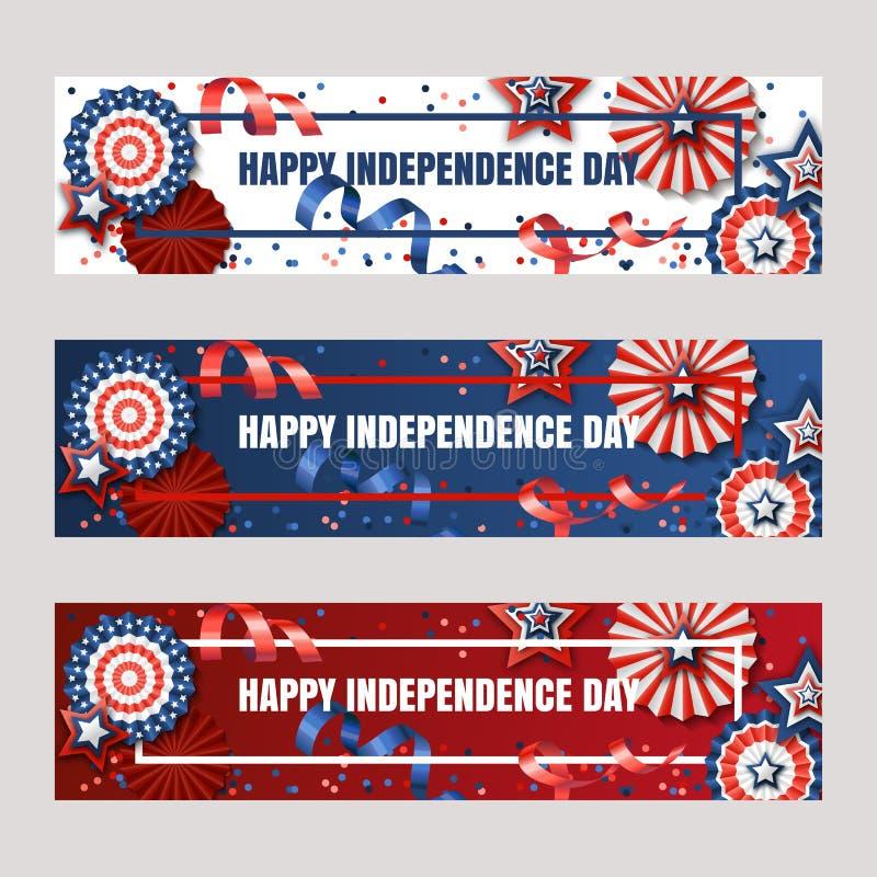 Szczęśliwy 4th Lipiec, usa dzień niepodległości Wektorowi sztandary z papierowymi gwiazdami w usa flaga barwią Wakacyjni tła royalty ilustracja
