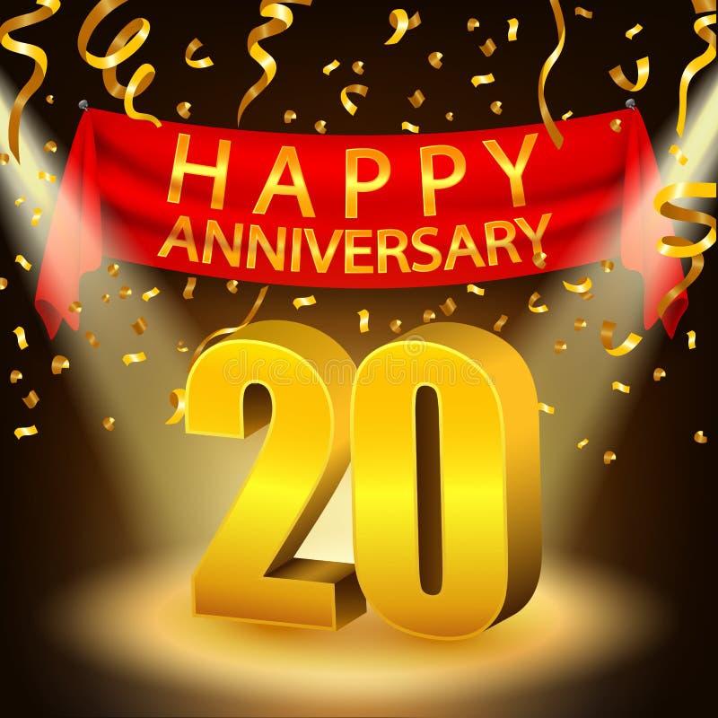 Szczęśliwy 20th Rocznicowy świętowanie z złotymi confetti i światłem reflektorów ilustracja wektor