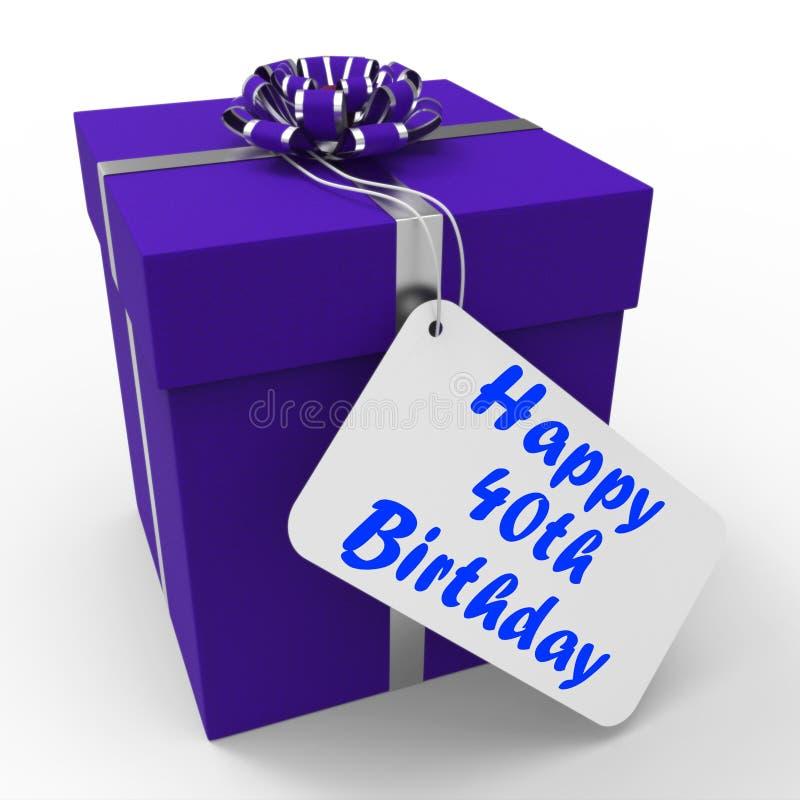 Szczęśliwy 40th Urodzinowego prezenta przedstawień wiek Czterdzieści ilustracja wektor