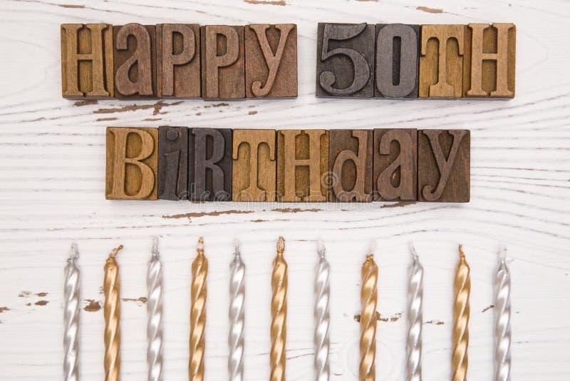Szczęśliwy 50th urodziny Literujący w typ set fotografia stock