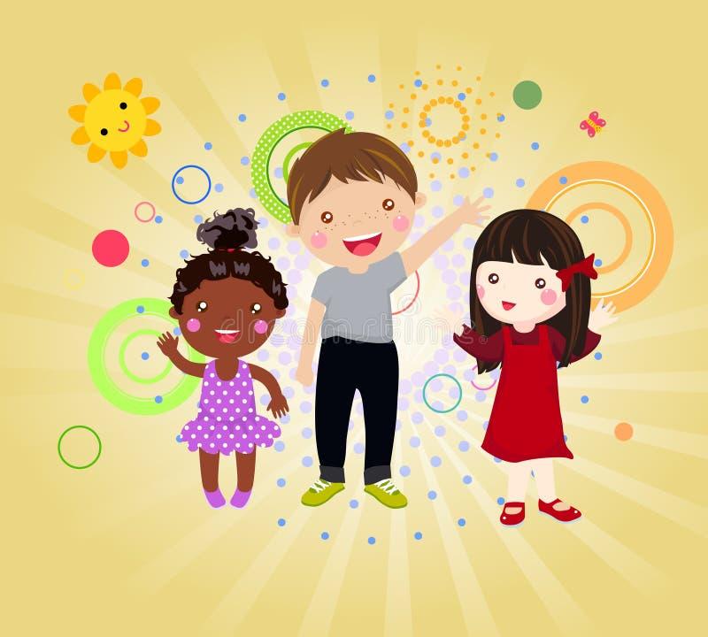 Szczęśliwy trzy dzieciaka royalty ilustracja
