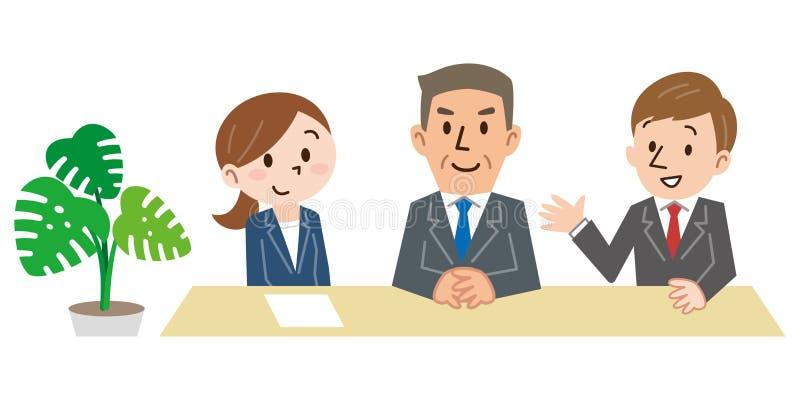 Szczęśliwy trzy ludzie siedzi na krzesłach z rzędu i czekać na wywiad odizolowywającego na białym tle ilustracji