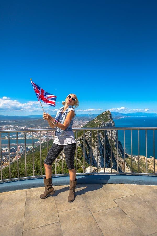 Szczęśliwy turysta przy Gibraltar zdjęcie stock