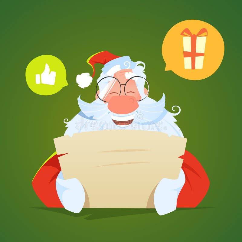 Szczęśliwy uśmiech Santa Claus czyta list i śmiechy fotografia stock