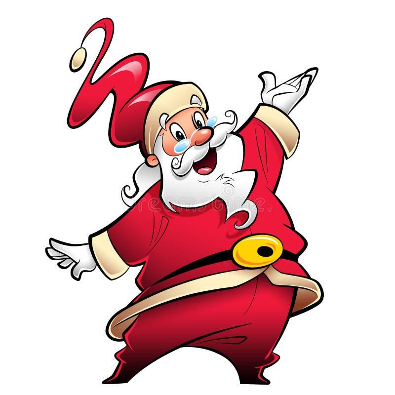 Szczęśliwy uśmiechnięty Święty Mikołaj postać z kreskówki przedstawiać i wishi royalty ilustracja
