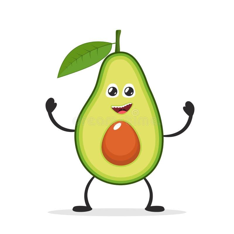 Szczęśliwy uśmiechnięty avocado Śmieszny Owocowy pojęcie Płaska postać z kreskówki ikona również zwrócić corel ilustracji wektora ilustracji