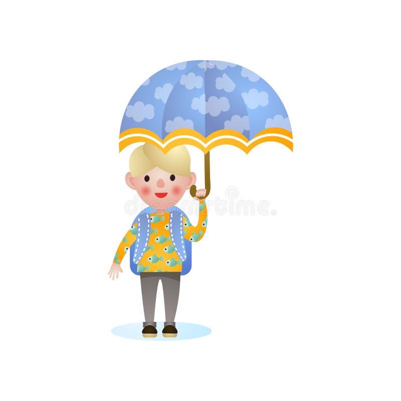 Szczęśliwy uśmiechnięty blondynki szkoły dzieciak z błękitnym parasolem royalty ilustracja