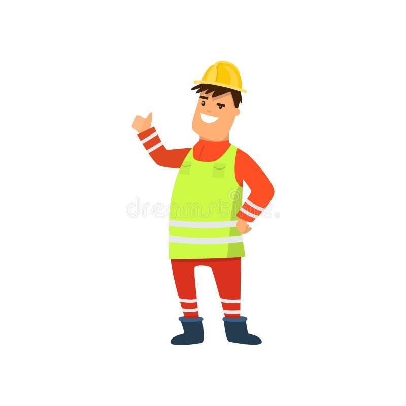 Szczęśliwy uśmiechnięty drogowy pracownik w koloru żółtego mundurze odizolowywającym na bielu ilustracji