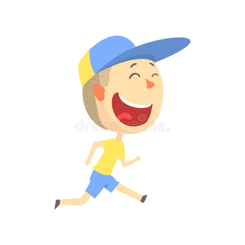 Szczęśliwy uśmiechnięty kreskówki chłopiec bieg, dzieciak plenerowa aktywność w wakacje charakteru wektoru kolorowej ilustraci royalty ilustracja