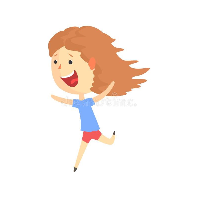 Szczęśliwy uśmiechnięty kreskówki dziewczyny bieg, dzieciak plenerowa aktywność w wakacje charakteru wektoru kolorowej ilustraci ilustracji