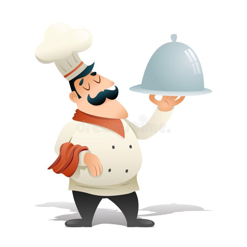 Szczęśliwy Uśmiechnięty Męski szef Cook porci naczynia symbolu Karmowej ikony rocznika kreskówki projekta wektoru Retro ilustraci royalty ilustracja