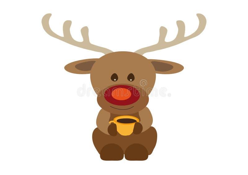 Szczęśliwy uśmiechnięty reniferowy Rudolf pije kawę od pomarańczowego koloru żółtego herbacianej filiżanki royalty ilustracja