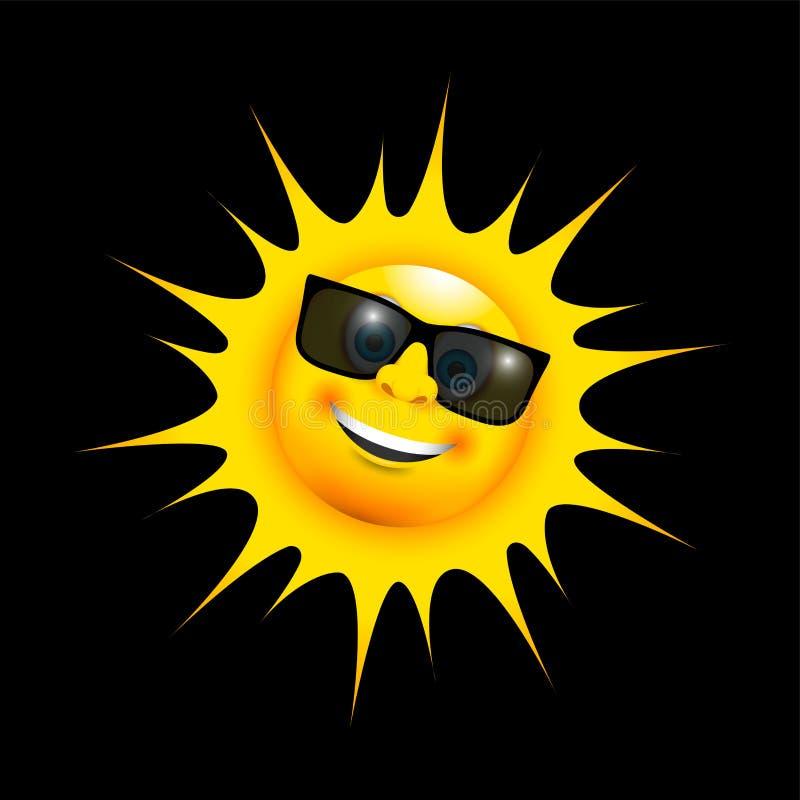 Szczęśliwy uśmiechnięty słońce z słońc szkłami ilustracji