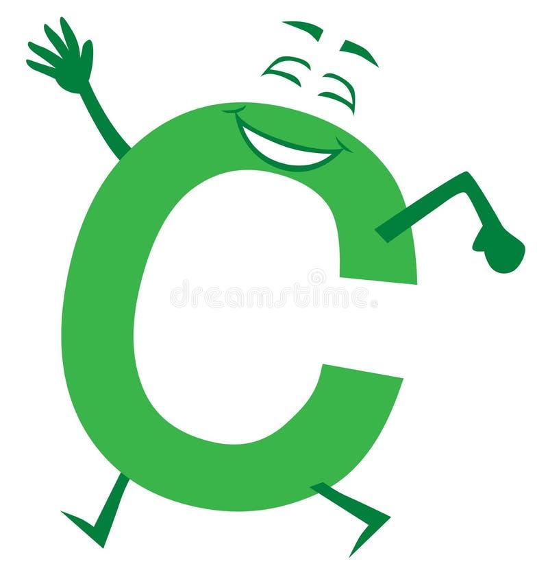 Szczęśliwy Uśmiechnięty Zielony kreskówka list C ilustracji