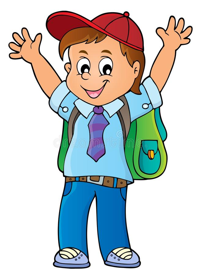 Szczęśliwy uczeń chłopiec tematu wizerunek 1 ilustracji