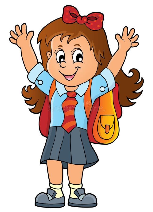 Szczęśliwy uczeń dziewczyny tematu wizerunek 1 royalty ilustracja