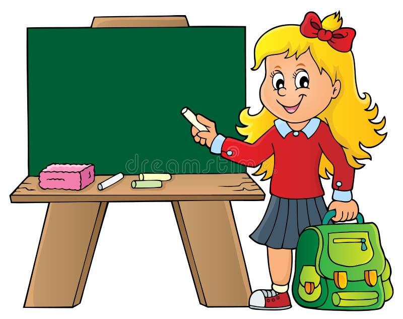 Szczęśliwy uczeń dziewczyny tematu wizerunek 8 ilustracja wektor