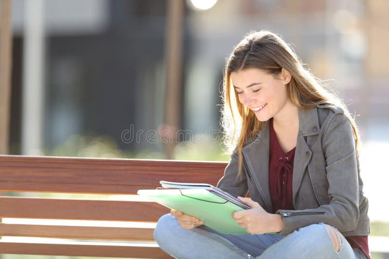 Szczęśliwy uczeń studiuje czytający notatki w parku obraz royalty free
