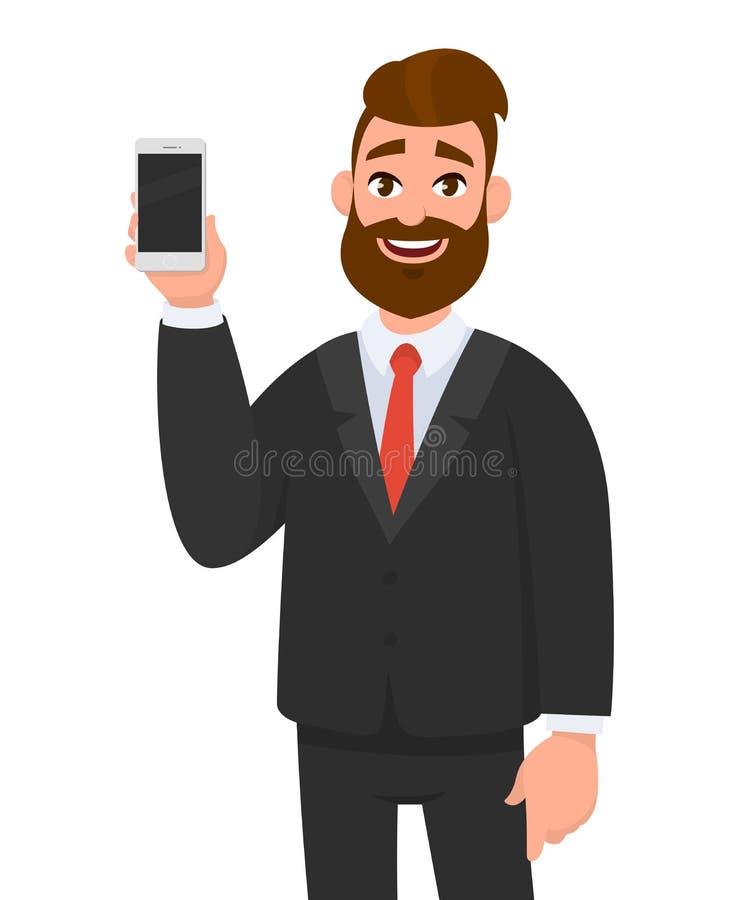 Szczęśliwy ufny biznesmen pokazuje pustego ekranu pozycję i smartphone przeciw odosobnionemu białemu tłu royalty ilustracja