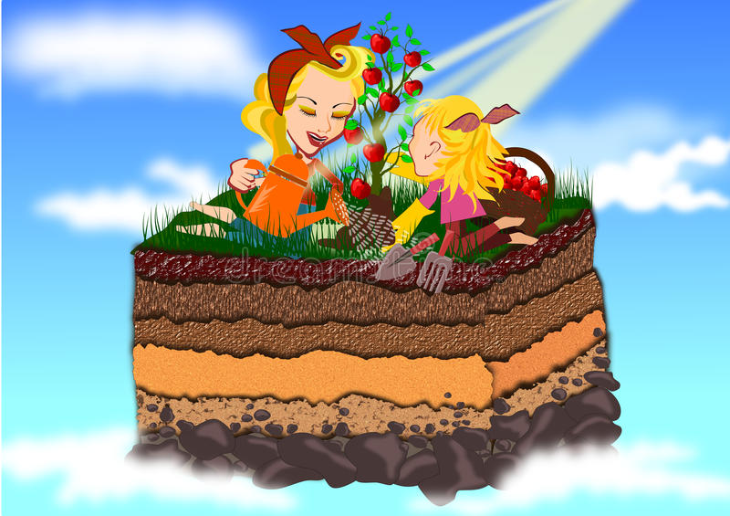 Szczęśliwy uprawiać ziemię matka i córka royalty ilustracja