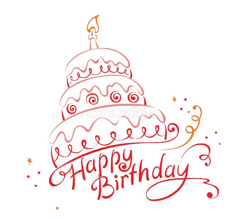 szczęśliwy urodzinowy Ans tort ilustracji