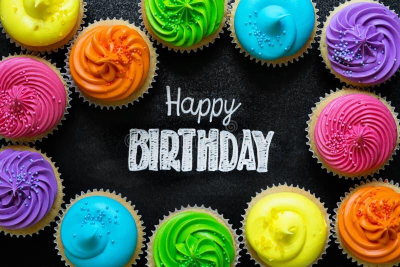 szczęśliwy urodzinowy chalkboard fotografia royalty free