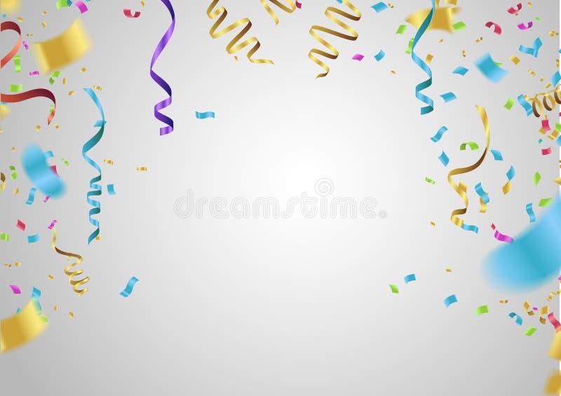 szczęśliwy urodzinowy projekt Granica realistyczny kolorowy helowy ballo ilustracji