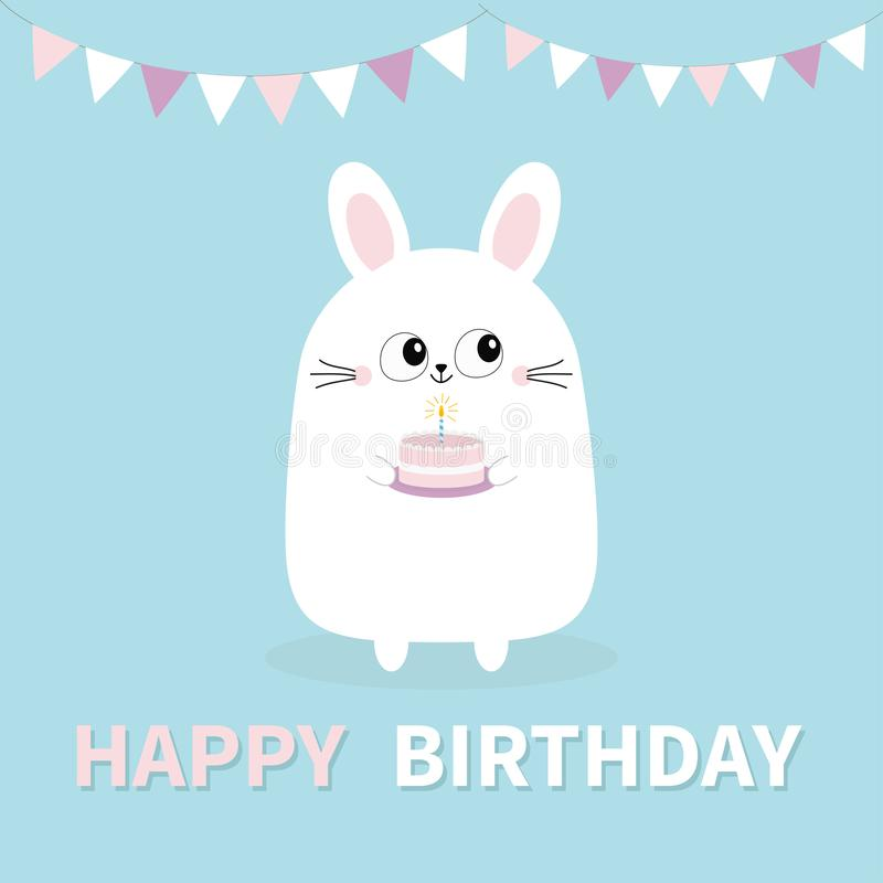 szczęśliwy urodziny Biały królika królika mienia tort, świeczka Papier zaznacza obwieszenie Śmieszna kierownicza twarz Duzi oczy  ilustracji
