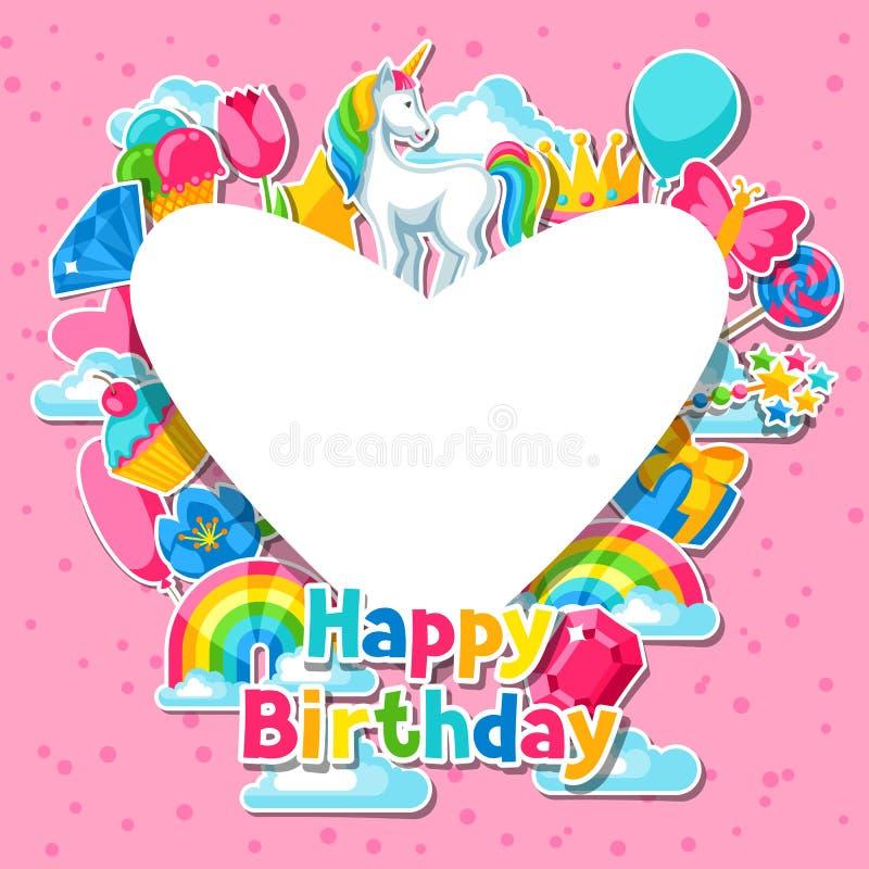 szczęśliwy urodziny Karta z jednorożec i fantazi rzeczami ilustracja wektor