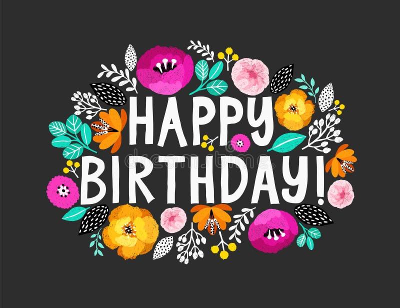 szczęśliwy urodziny Piękna kartka z pozdrowieniami z ręka pisać literowaniem wokoło i kwiatami Ręka rysująca zaproszenie koszulka royalty ilustracja