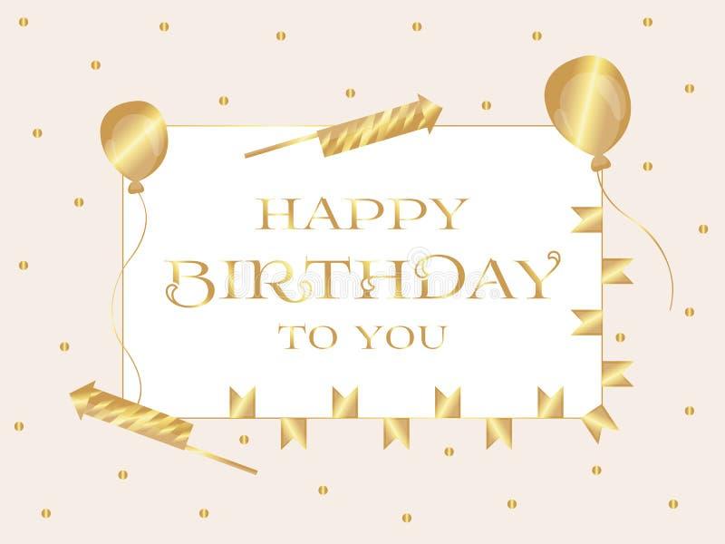 szczęśliwy urodziny 2007 pozdrowienia karty szczęśliwych nowego roku Inskrypcja napisze w złocistych listach w prostokącie wektor ilustracja wektor