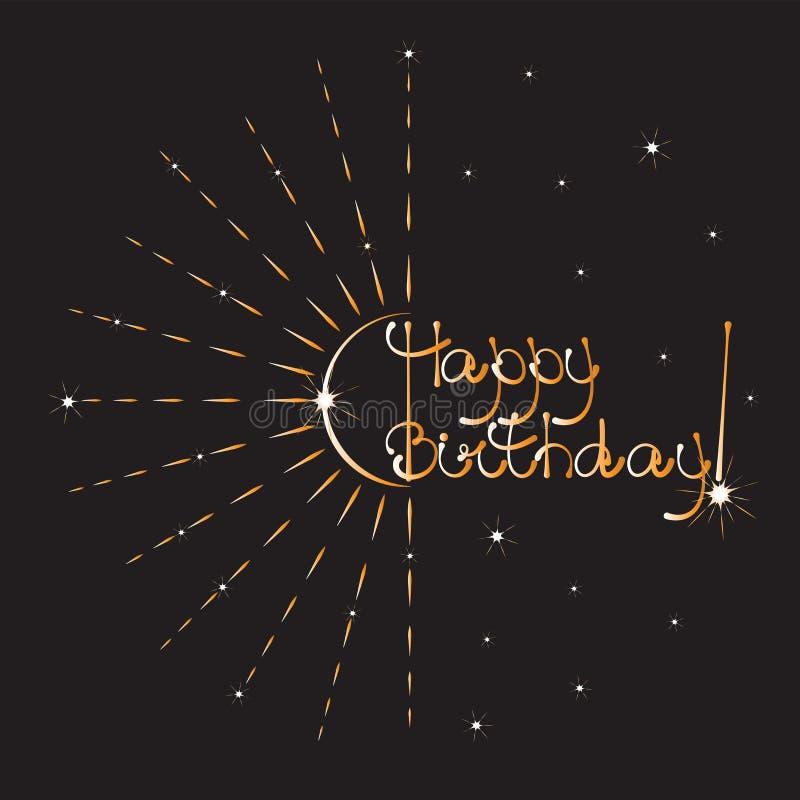 szczęśliwy urodziny ręcznie pisany tekst ilustracji
