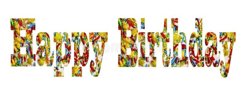 szczęśliwy urodziny Słowo, przezroczystość, ciasto dekoracje, tort, Barwiący ilustracja wektor