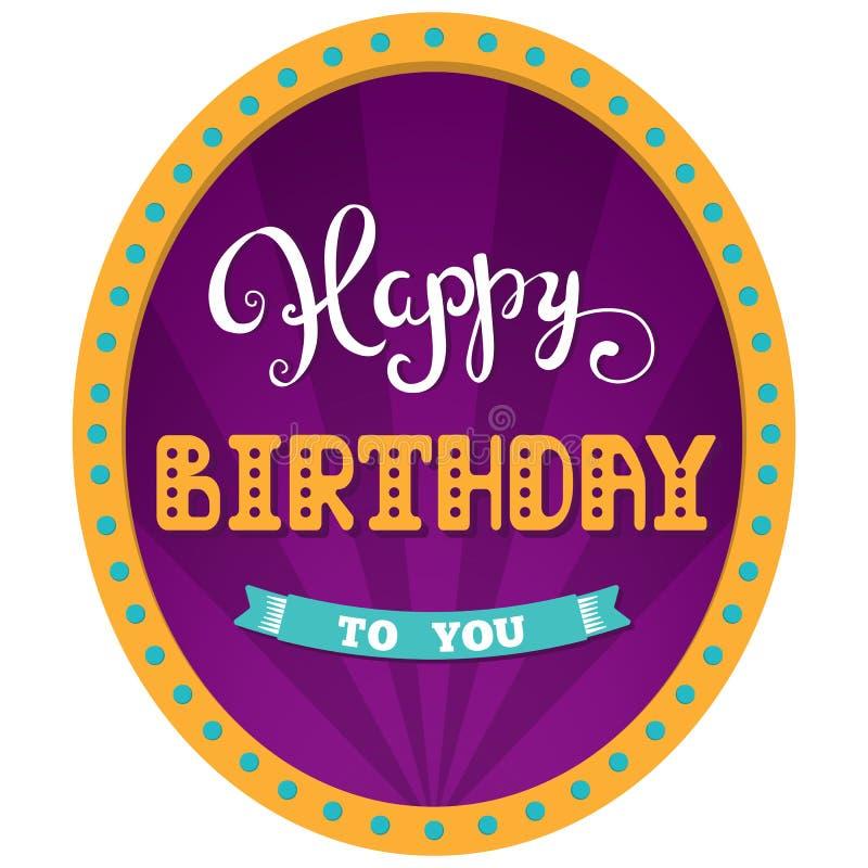szczęśliwy urodziny Wakacje karta dla dnia przyjęcia urodzinowego Ręki literowanie Cyrkowy tło w retro ramie z światłami ilustracji