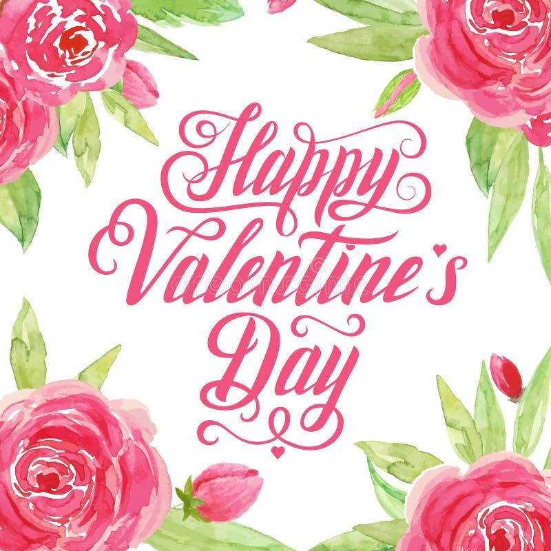 Szczęśliwy Valentine's dzień - wręcza patroszoną inskrypcję z akwareli tłem literowanie 2007 pozdrowienia karty szczęśliwych no ilustracja wektor
