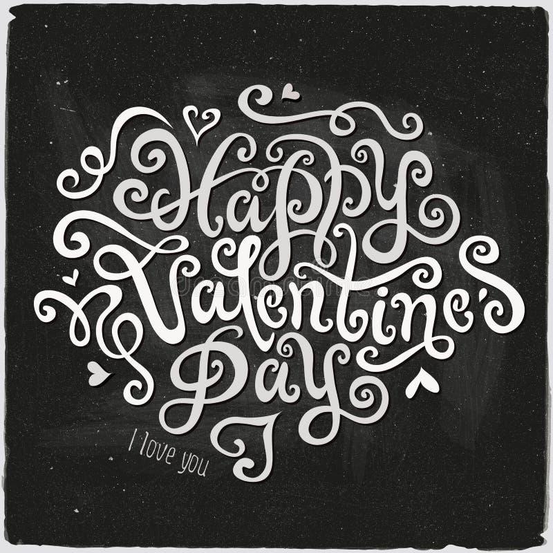 Szczęśliwy valentine dnia ręki literowanie ilustracji