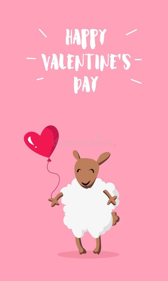 Szczęśliwy valentine ` s dnia sztandar Śliczni cakle z balonem w formie serca Mieszkanie styl wektor ilustracja wektor