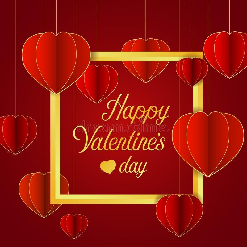 Szczęśliwy valentine ` s dnia sztandar z czerwoną kierową zrozumienia i złota ramą na czerwonego tła wektorowym projekcie royalty ilustracja